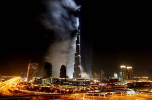 Burj Final Glimpse after fireworks display with spot ligths spattering everywhere