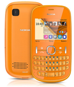 Orange Color Nokia Asha 201 Dubai