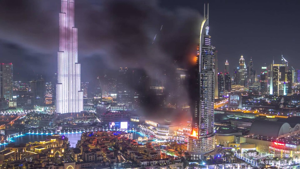 The address downtown dubai hotel fire timelapse for Address hotel dubai