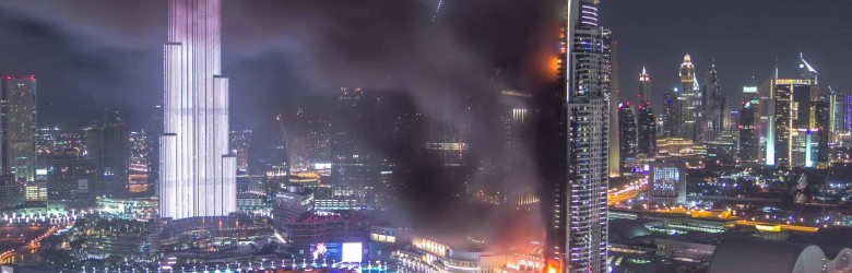 Timelapse of Dubai hotel fire - Address Downtown